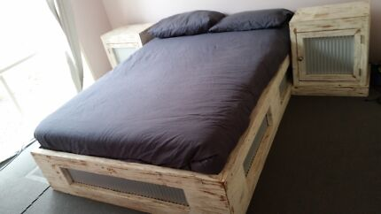 Bed frame with mattress and matching bed sides