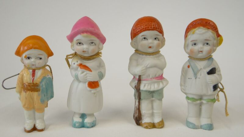 Lot 4 Circa 1950s Ceramic Made in Japan Christmas Ornaments Figures Hand Painted