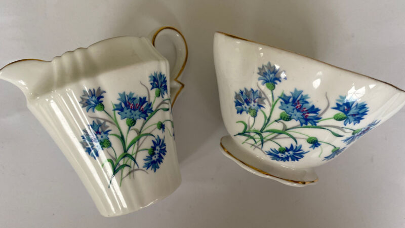 Royal Standard Fine Bone China Creamer Sugar Bowl Blue Floral Gold Trim England