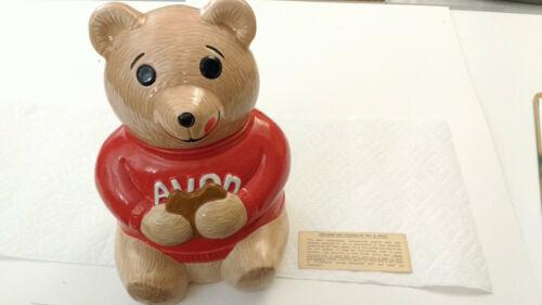 Vtg NOS Avon Teddy Bear Team leader Cookie Jar Ceramic Red Shirt Original Box