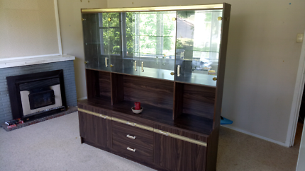 Mirror and glass cupboard