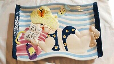 Cardinal Inc. Handpainted ceramic Beach Towel Tanning Chip snack Tray - Halloween Snack Platters
