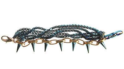JOOMI LIM Future Perfect Bracelet w/ Blue Chains & Spikes NEW