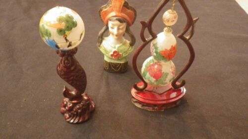 Asian Reverse Hand Painted objects + Occ. Japan Figure