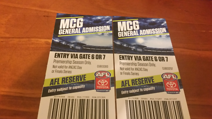 AFL 2017 MCG General Admission Tickets for sale