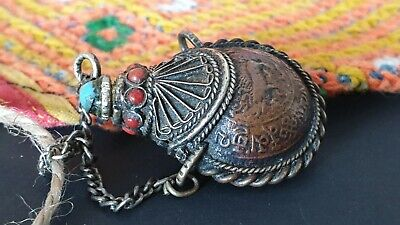 Old Tibetan Coin Snuff Bottle with Local Turquoise & Coral & Silver on neck Cord