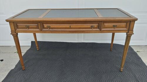 Vintage Mid Century Antique Brandt Leather Top 3 drawer desk