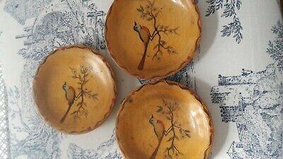 Retro wooden small plates /coasters dutch handpainted birds kitch wall art