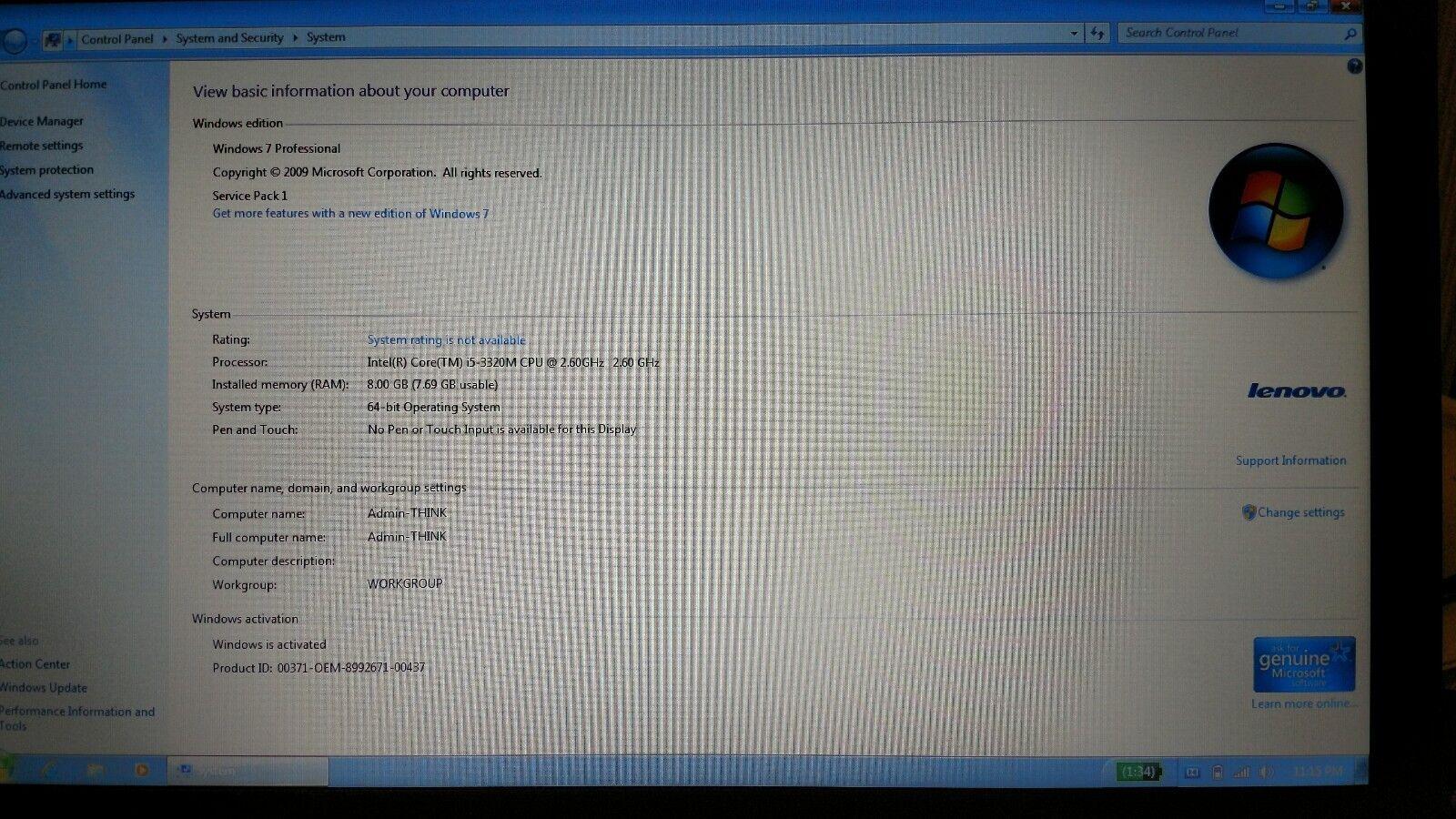 "IBM / Lenovo T430 14"" Laptop   Core i5-3230M   8GB RAM   500GB HDD   Win7"