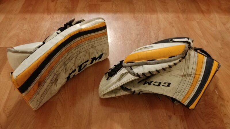 CCM Extreme Flex Pro Goalie Glove & Blocker Pro Stock NCAA - heavily used