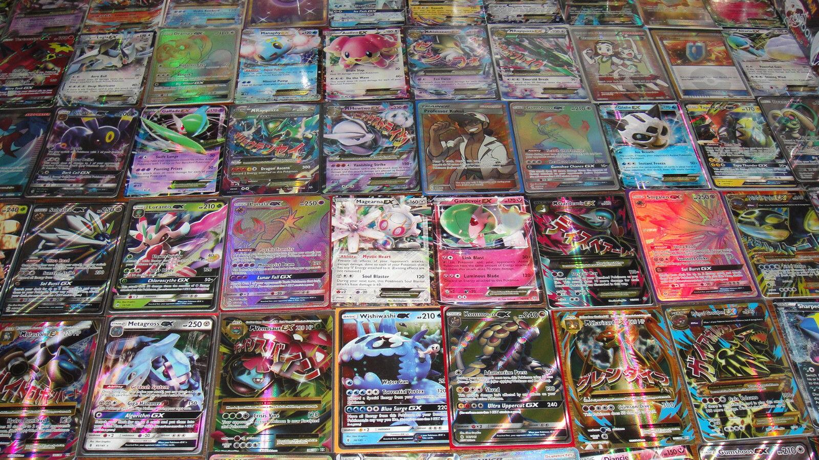 Купить Pokemon - Pokemon 100 Card Lot - GUARANTEED EX or GX + 1 Pack  - Mega Full Art Rares Holos