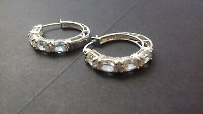 Sterling Silver Cubic Zirconia Set QVC Diamonique Hoop Earrings for sale  Shipping to South Africa