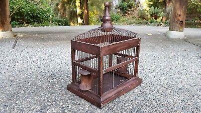 "Antique Vintage Wood & Wire Primitive Victorian Style Bird Cage (15"" x 12"" x 9"")"