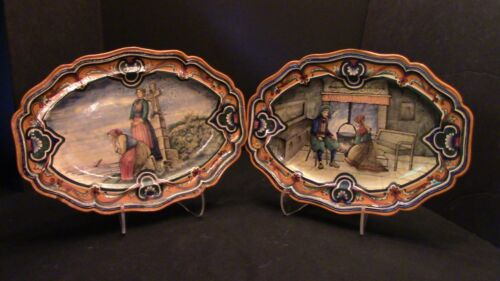 A Remarkable Pair of French Hand Painted Sceaux Platters