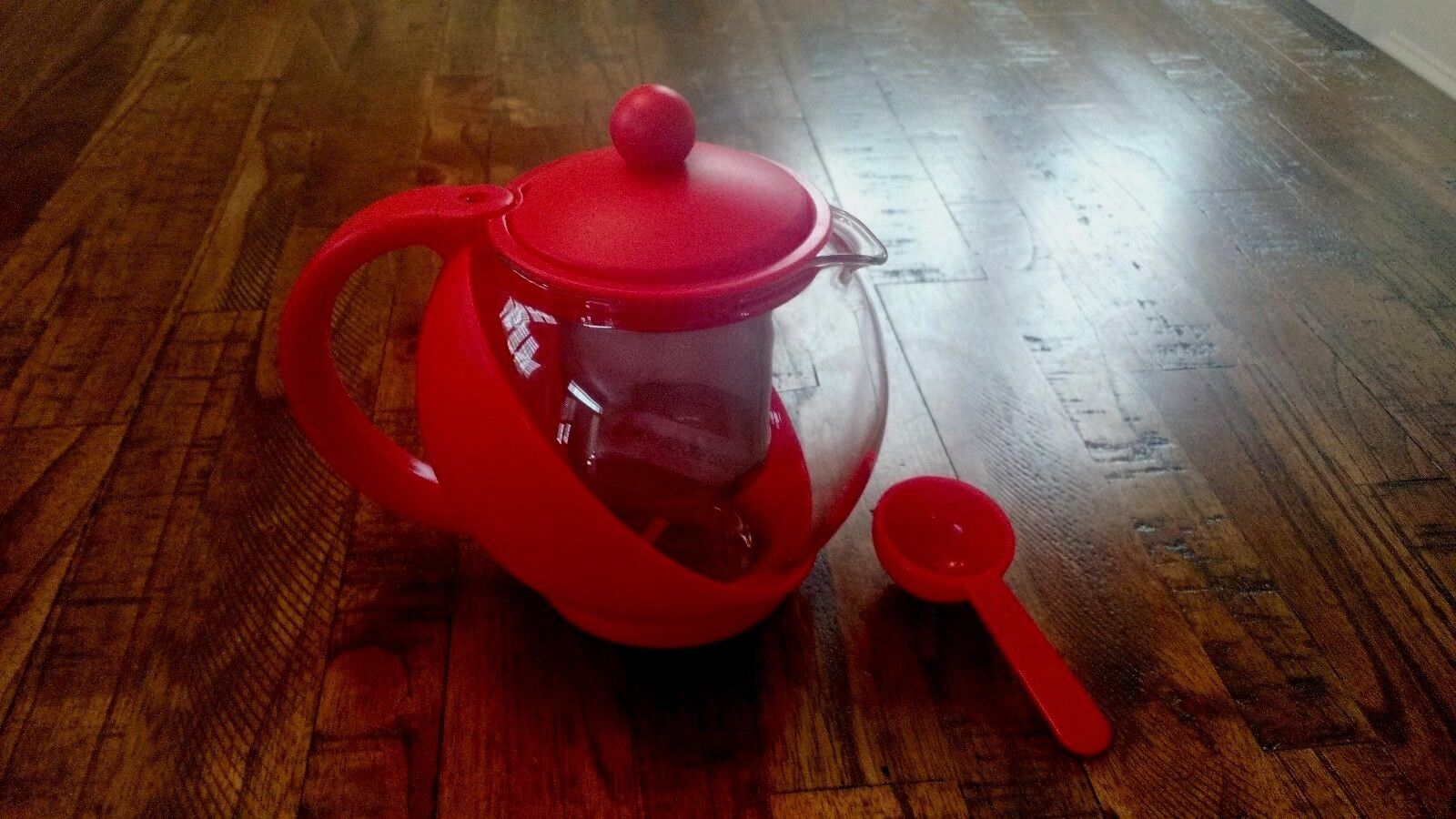 Glass Teapot Personal Tea Kettle QVC  3 Cup 24 Ounces Red Bl