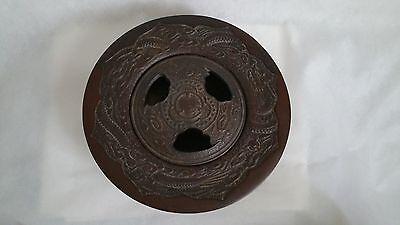 Vintage Japanese Bronze Incense Burner Dragon - Signed