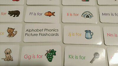 - 26 Alphabet Phonics Multi colored flash cards.  Preschool letter and picture lea