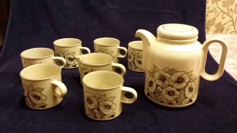 Vintage Coffee Set 8 pieces Lancaster Vitramic Hornsea England Cornrose Pattern