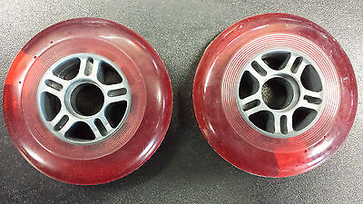 pair of 100 mm scooter wheels red