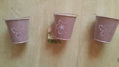 3 kleine Eimer Metall mit Metallgriff lackiert flieder Blüte Schmetterlinge
