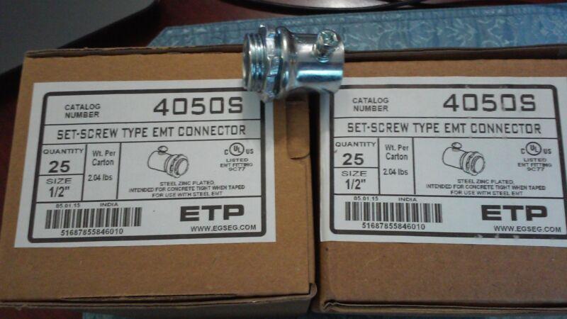 "ETP 4050S 1/2"" SET-SCREW TYPE EMT CONNECTOR ( Qty of 50)"