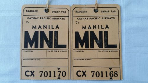 2 Vintage Cathay Pacific Airways Airlines Baggage Strap Tags Manila