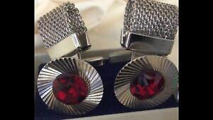 Vintage soviet diamond cutting stainless cufflinks