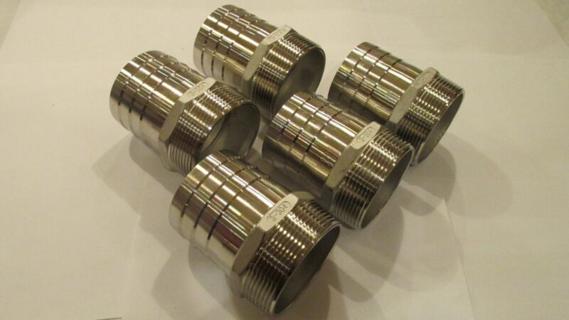 """5-Stainless Steel 3"""" hose barb X 3"""" male thread fittings, NPT"""