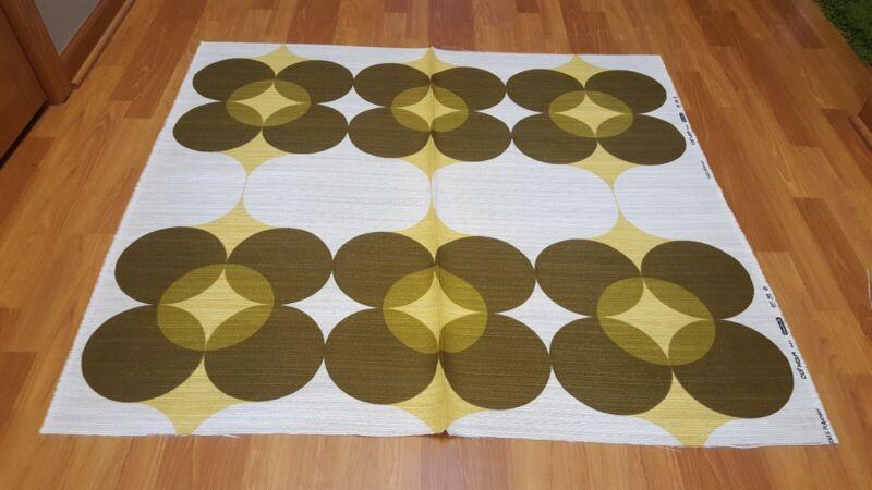 Awesome RARE Vintage Mid Century retro 70s diamond yel four circle fabric! LOOK!