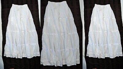 Wholesale Skirt Sets (9 WHOLESALE LOT HANDMADE INDIA WHITE COTTON SUMMER LONG SKIRT 36