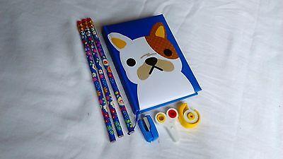 Japanese Stationary Set Cute Dog Perfect Gift Idea Pencil Notebook Eraser Blue