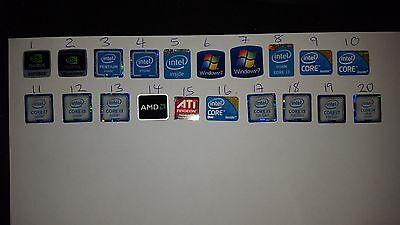60 X Windows 7 i3 i5 Intel Nvidia AMD Aufkleber Logo Aufkleber Abzeichen gebraucht kaufen  Versand nach Germany