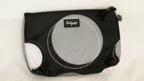 THIRTY ONE BLACK HAPPY DOT  THERMAL MINI ZIPPER POUCH... NEW IN BAG