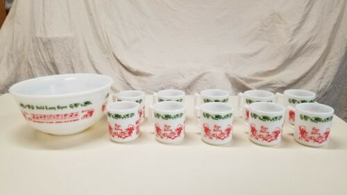 Vintage Hazel Atlas Tom and Jerry Auld Lang Syne Milk Glass Punch Set 10 Cups