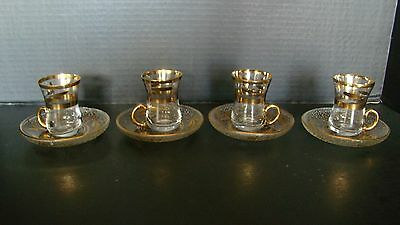 Estate Set Of 4 Glass With Gold Trim Demitasse Espresso Cups