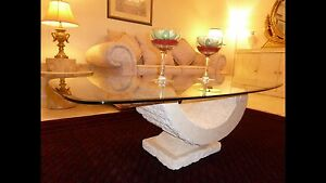 FOSSIL STONE COFFEE TABLE GLASS TOP GREAT CONDITION Helensvale Gold Coast North Preview