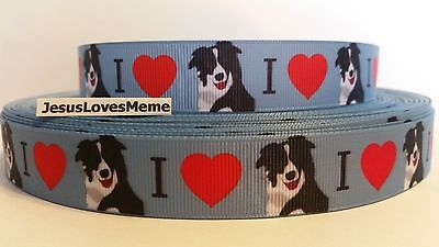 Grosgrain Ribbon, I Love Border Collies, Working Herding Breed Dogs Puppies 7/8