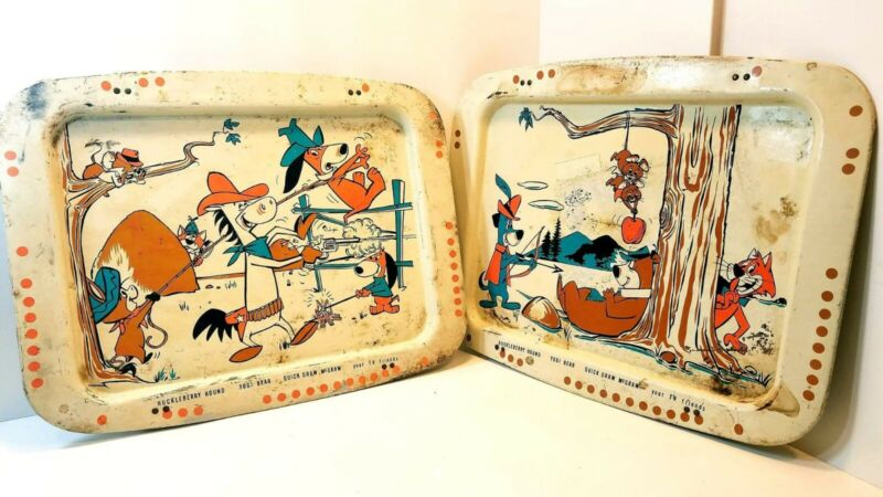 2 Vintage Huckleberry Hound Yogi Bear Quickdraw McGraw Bed Trays Your TV Friends