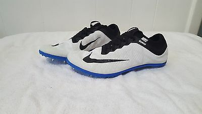 Mens Nike Mamba 3 Distance Track Spikes #706617-100 Size 11.5  white/black/blue