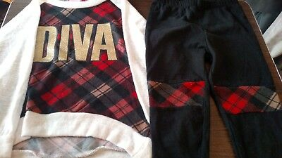 5-6T DIVA PLAID SHIRT & PANTS FASHION TODDLER KIDS GIRLS OUTFITS CLOTHS