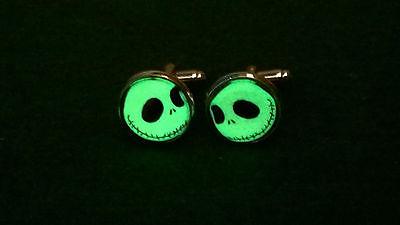 Jack Skellington Inspired Glow in the Dark Glass Domed Cufflinks Party haloween