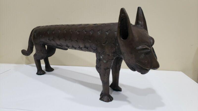 Antique Vintage Heavy African Bronze Benin Cat