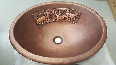 Handmade Oval Coffee Forest Design Copper Top Mount Bathroom Bar/Prep Sink Copper Oval Bathroom Sink