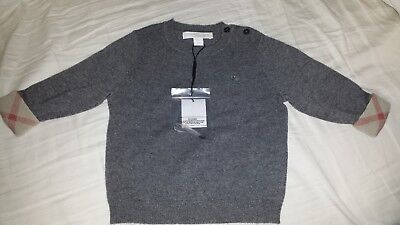 NWT Burberry Baby's & Toddler Boy's Gethin Cashmere Sweater 12 Months Mid Grey