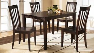 New 5 Pce dark brown solid wood table and 4 chairs only $550