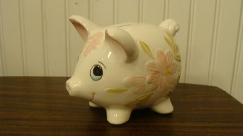 "Vintage Hand Painted Ceramic PIG Figurine/ Piggy Bank 5.5"" long"