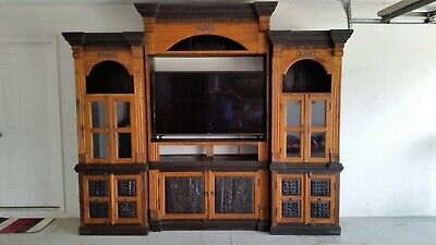 TV Entertainment Center Solid Wood Media Wall Unit Cabinet