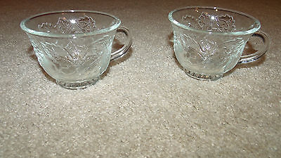 (x2 Decorative Glass Tea Cups/Glasses-Grapes/Maple/Oak Leaves-Small/Light/Clear)