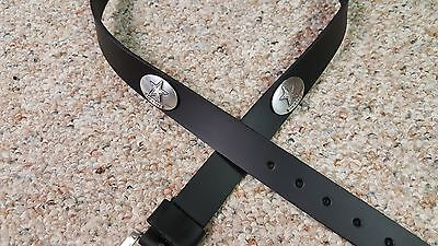 Dallas Cowboys Leather Mens Belt Black with Conchos Size 28 to 46 Silver