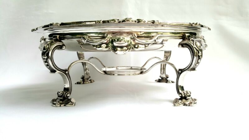 Fine 19th Century silver plated serving dish, decorative stand chafing/warming